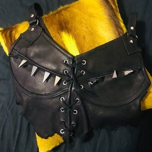 Black Genuine Leather Spiked Bustier